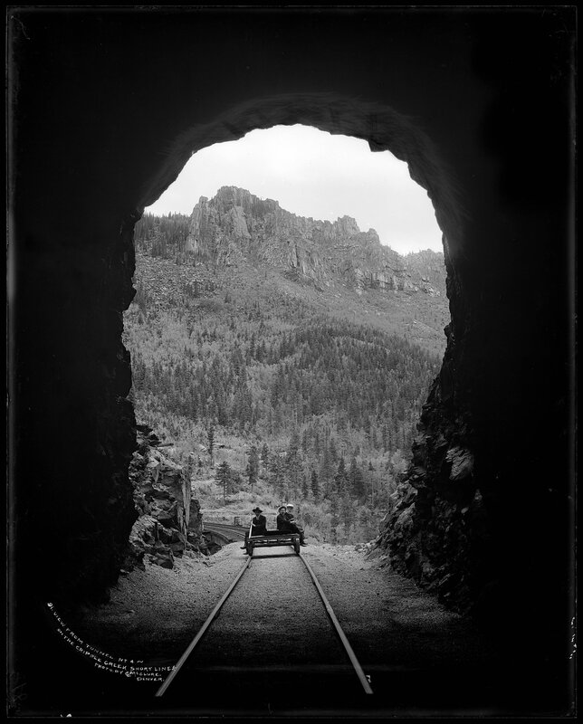 View from Tunnel No. 4 on the Cripple Creek Short Line, Colorado Springs and Cripple Creek District Railway, Colorado, between 1900 and 1920
