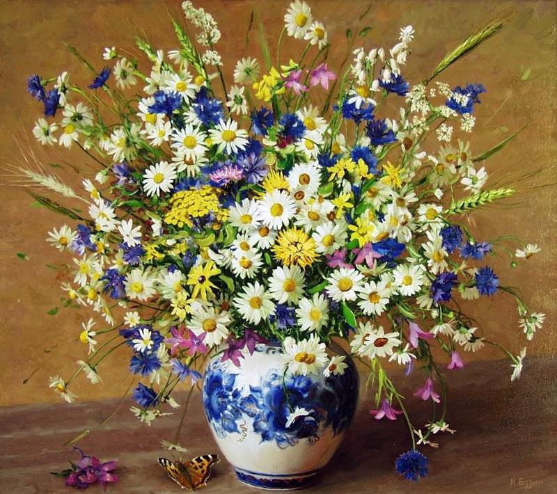 Букеты полевых цветов фото в вазах