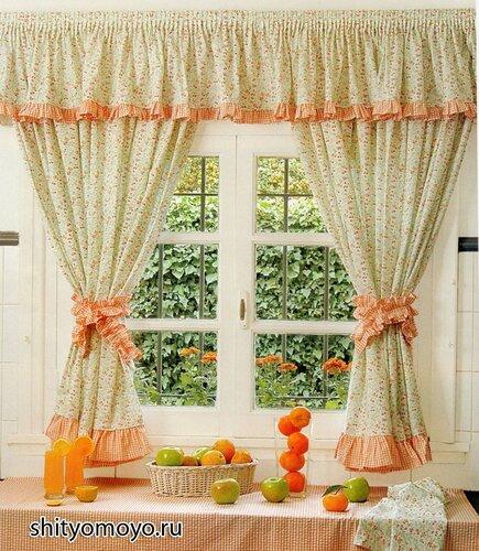 Как сшить шторы своими руками: кухонные занавески с ламбрекеном, воланами и подхватами