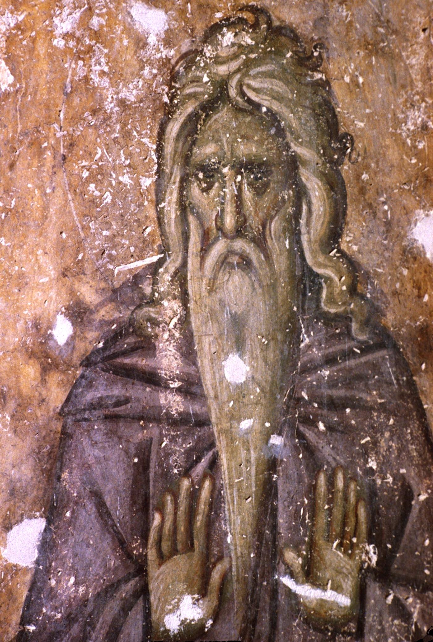 Святой столпник. Фреска церкви Святой Троицы в монастыре Сопочаны, Сербия. XIII век.
