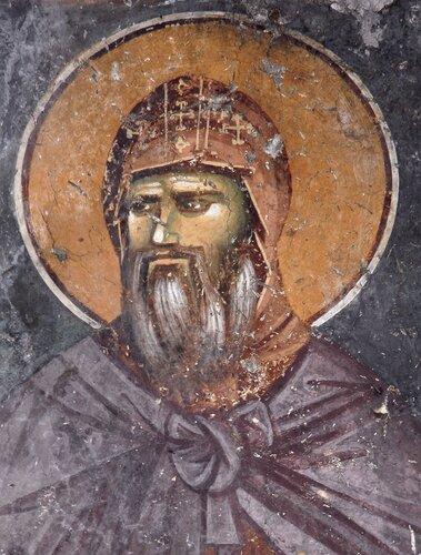 Святой Преподобный Стефан Первовенчанный, Король Сербский. Фреска церкви Святых Апостолов в Пече, Косово, Сербия. Около 1300 года.