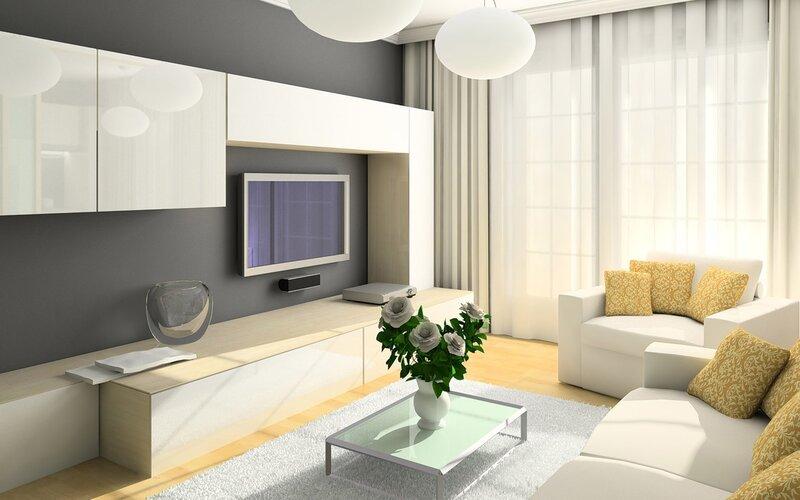 3d обои гостиная в белом цвете с белыми