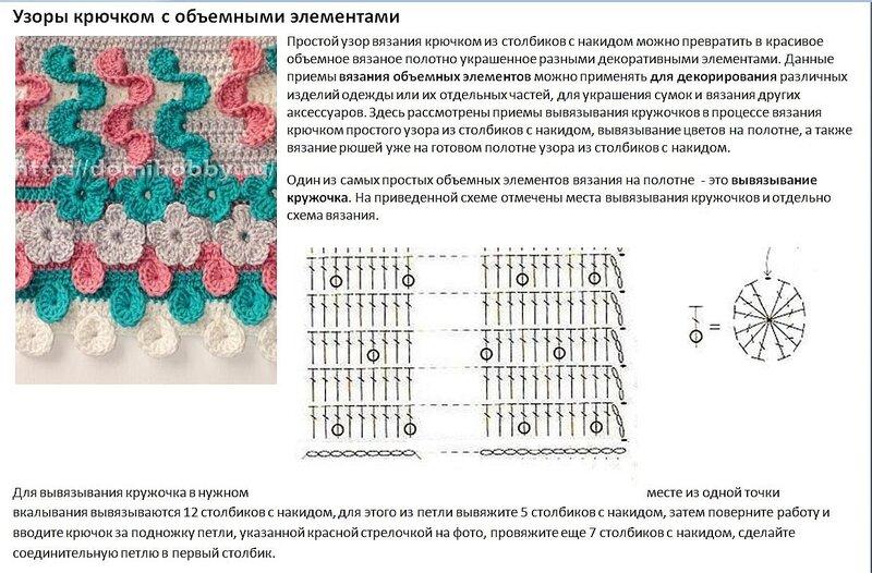 Вязание цветков крючком узоры и схемы 726