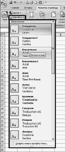 Шрифты темы в таблицах Excel