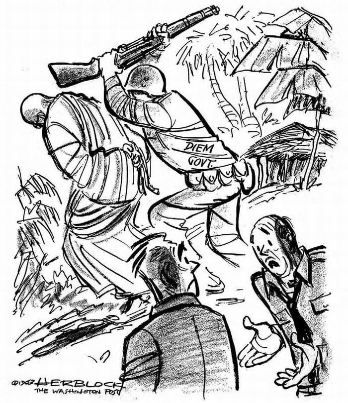 Южно-вьетнамский марионеточный режим. Ничего что он занимается притеснениями буддистов - зато он отличный антикоммунист! (Herblock)