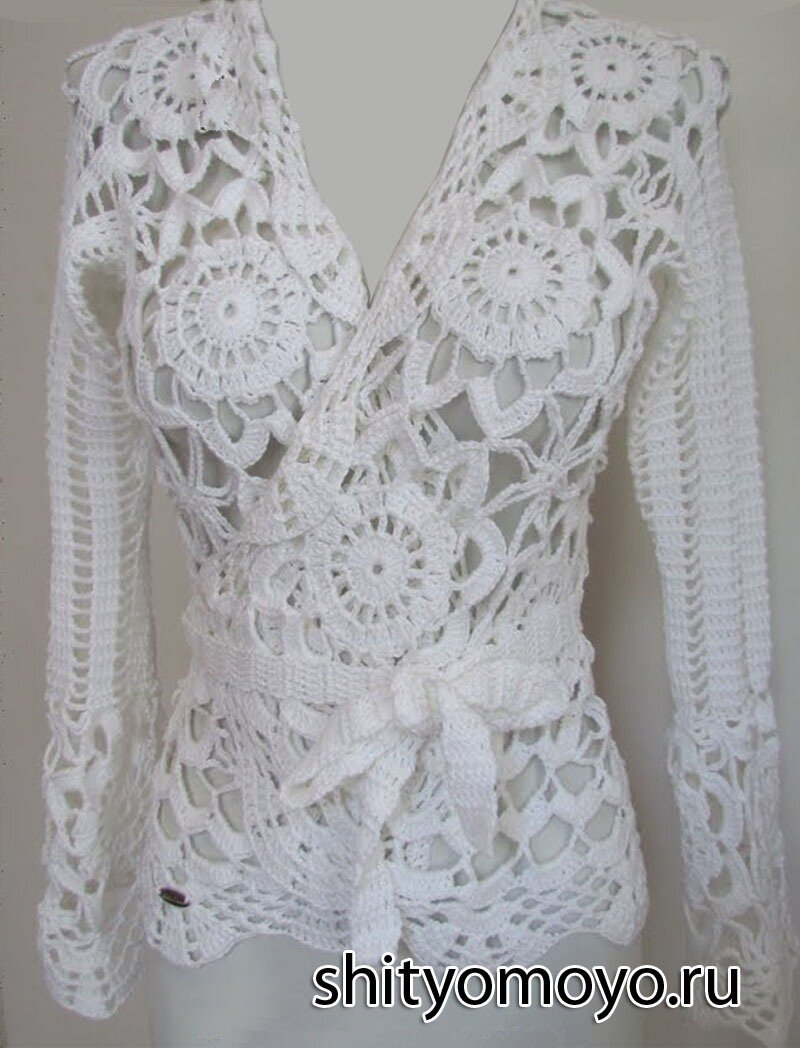 вязание крючком модель и схемы бесплатно белая блузка с запахом