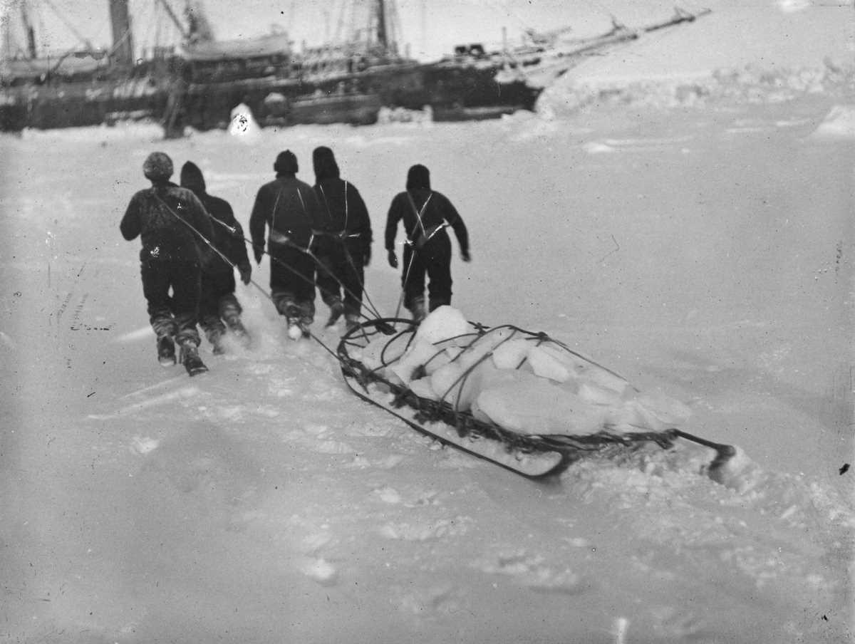 31. Экипаж тащит свежий лед для воды.