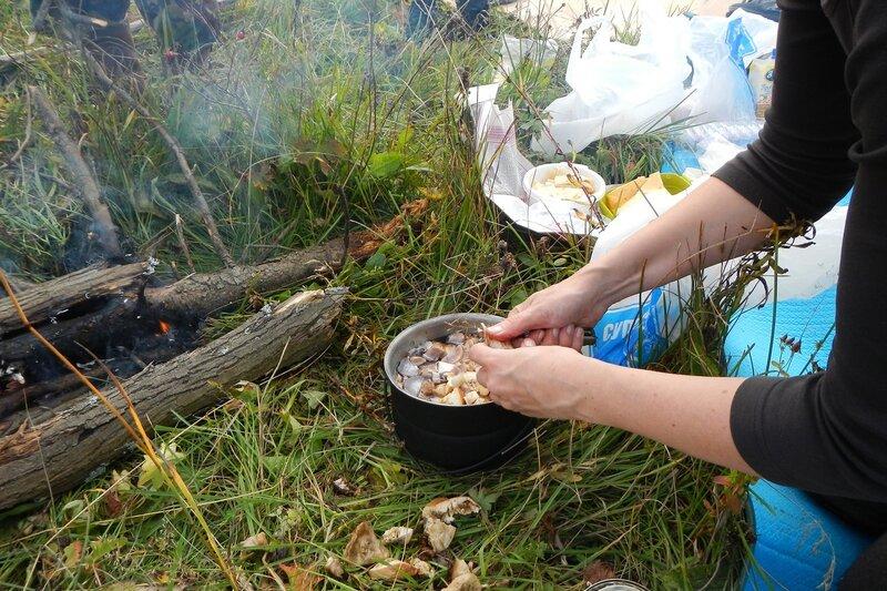 режем грибы в котелок на грибовницу