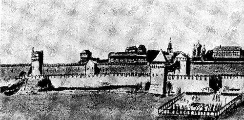 Рисунок 62. Водовзводная и Тайницкая башни в XVII веке (По Мейербергу).