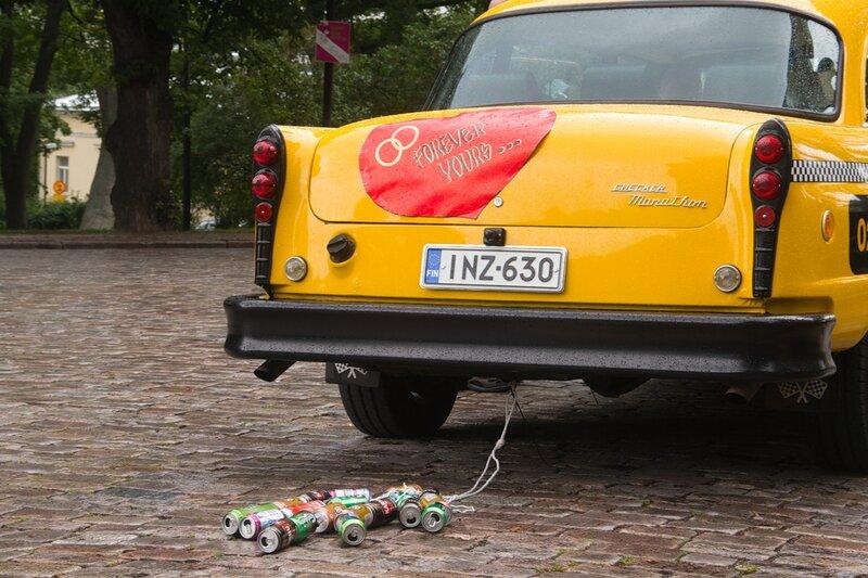 Yellow wedding cab