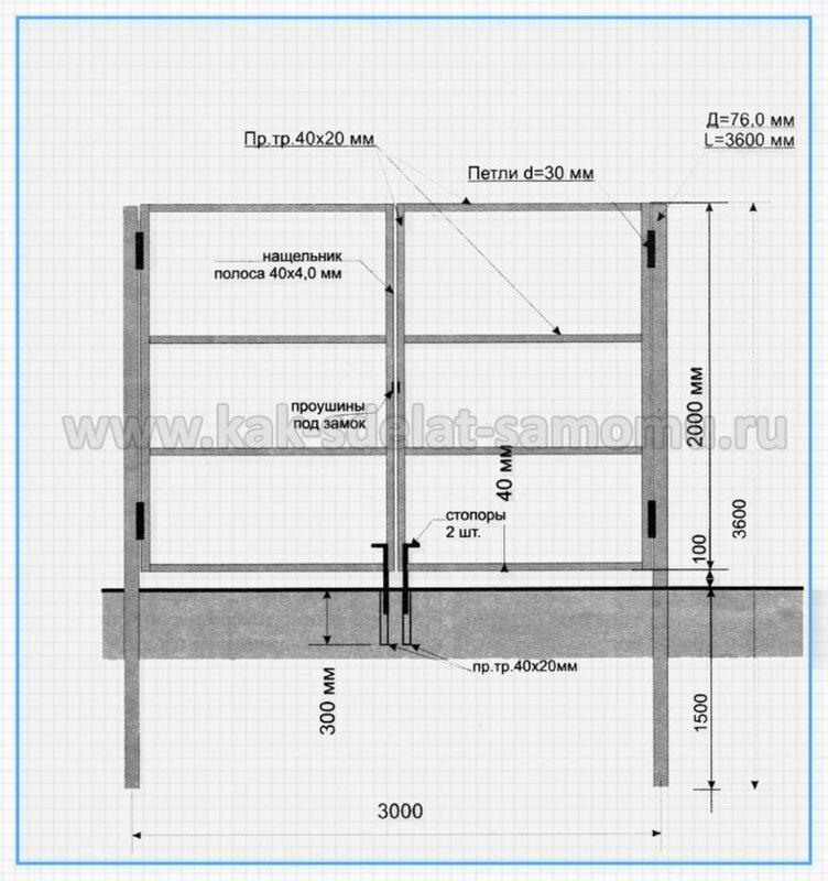 Откатные, сдвижные, раздвижные, въездные ворота - подробный чертеж, схема, план - Чертеж Добро пожаловать на ресурсе...