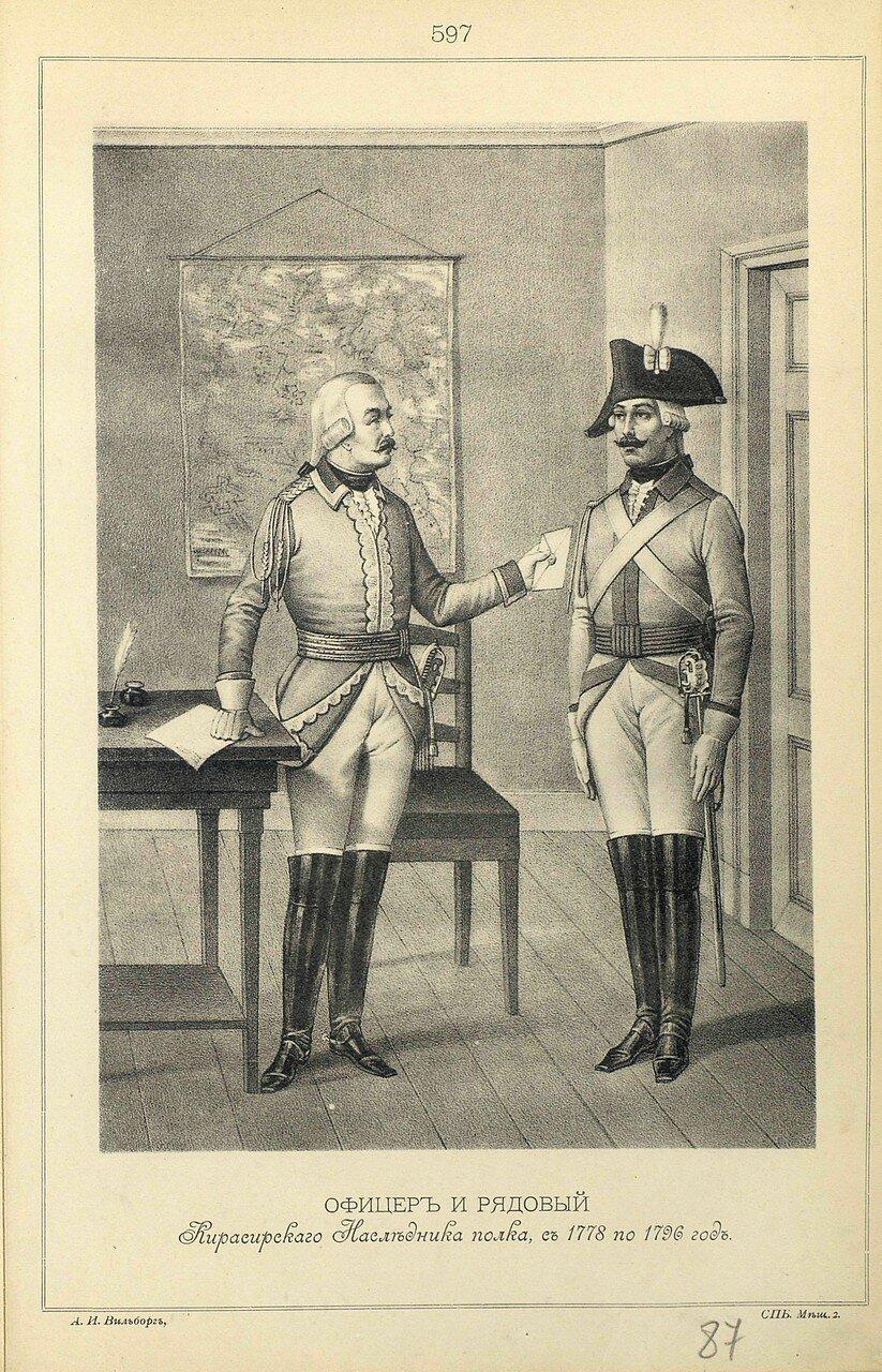 597. ОФИЦЕР и РЯДОВОЙ Кирасирского Наследника полка, с 1778 по 1796 год.