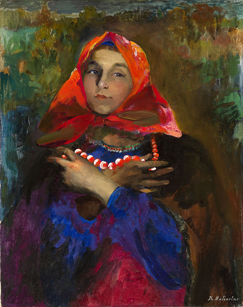 Картинки по запросу giclee painting: malyavin's russian maiden in a red headscarf, 61x46in