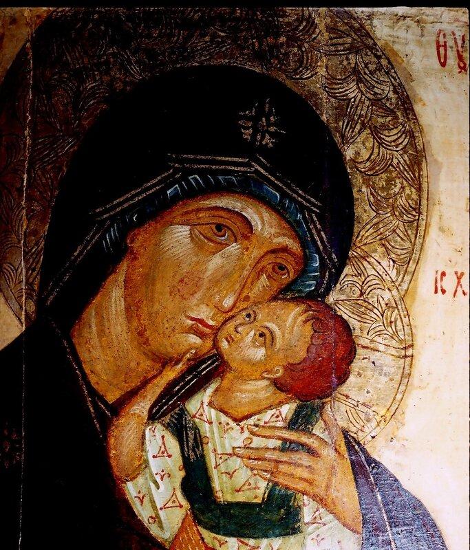 Яхромская икона Божией Матери. Фрагмент.