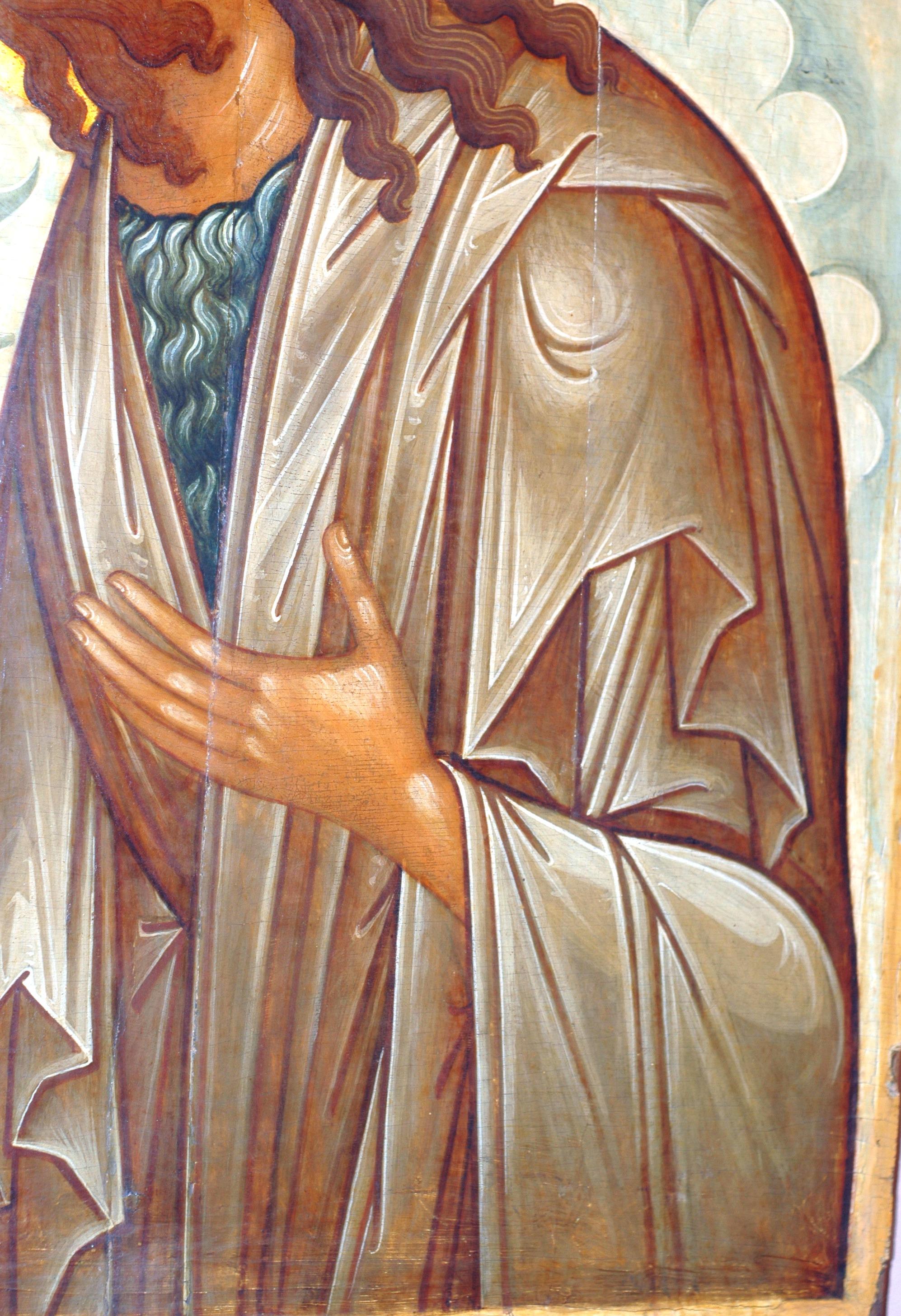 Святой Иоанн Предтеча. Русская икона середины XV века. Фрагмент.