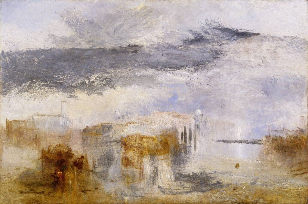 Venice - Sunset, a Fisher exhibited 1845 by Joseph Mallord William Turner 1775-1851