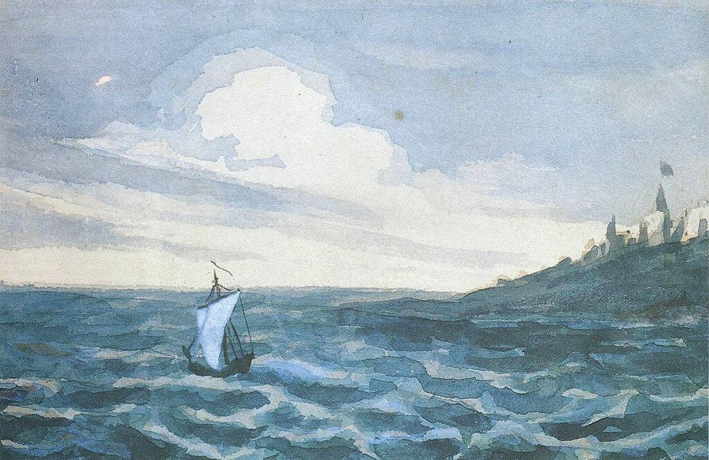 + Морской вид с парусной лодкой, фрагмент, акварель. 1828—1831.jpg