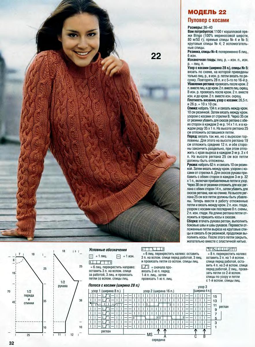 Вязание спицами для женщин модные полувер