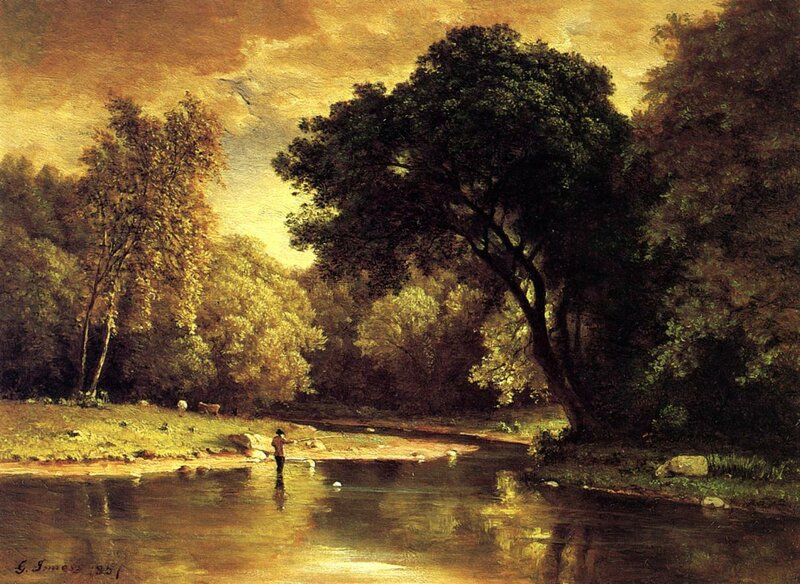 Inness George. Fisherman in a Stream