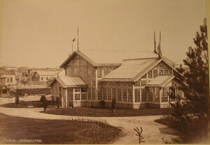 Вид одного из павильонов выставки, где размещался отдел садоводства.
