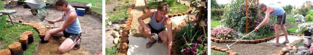 Дорожка в саду из старых бревен