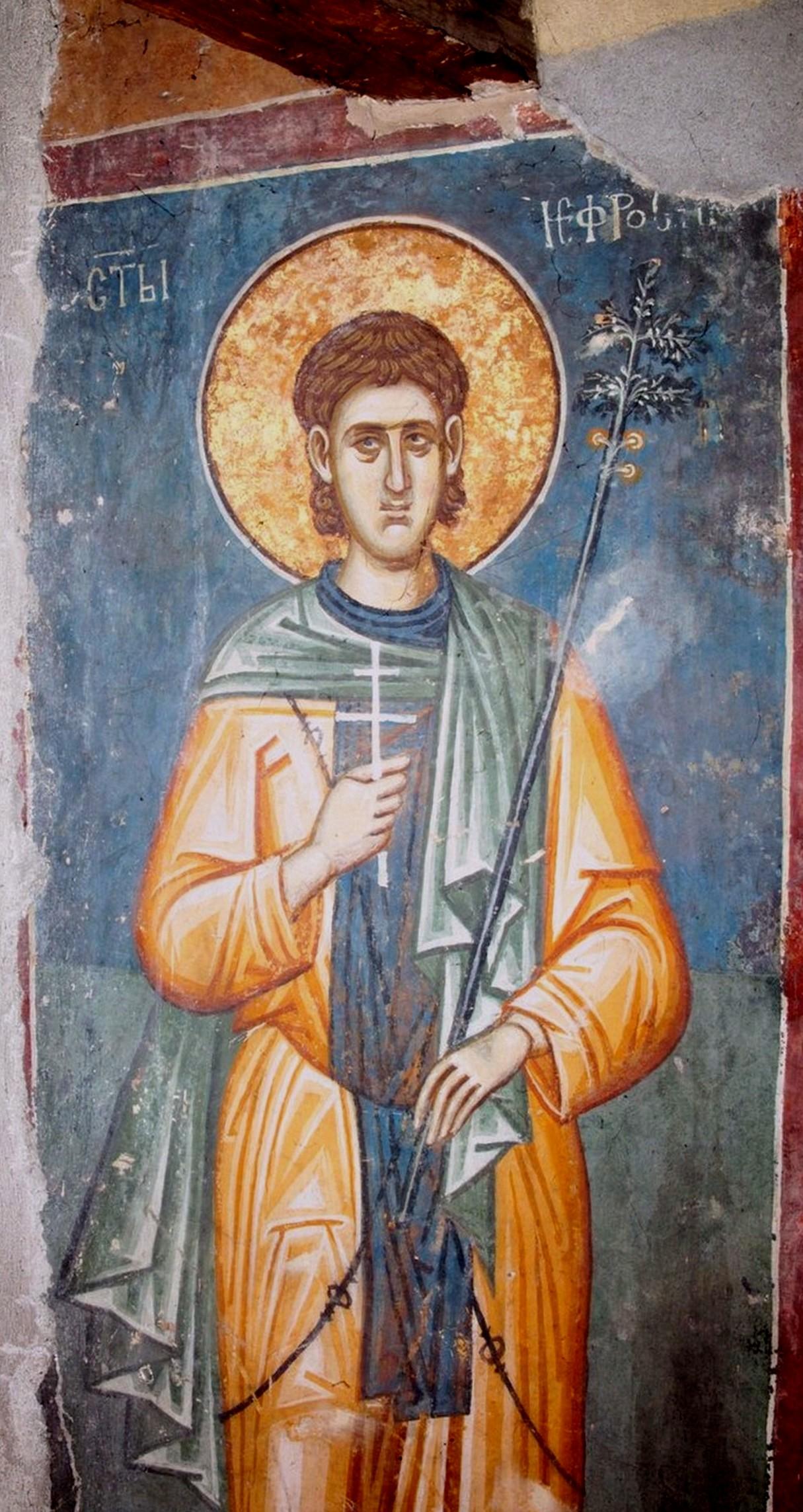 Святой Преподобный Евфросин Палестинский, повар. Фреска монастыря Высокие Дечаны, Косово, Сербия. Около 1350 года. Фрагмент.