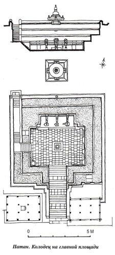 Патан, колодец на главной площади, план