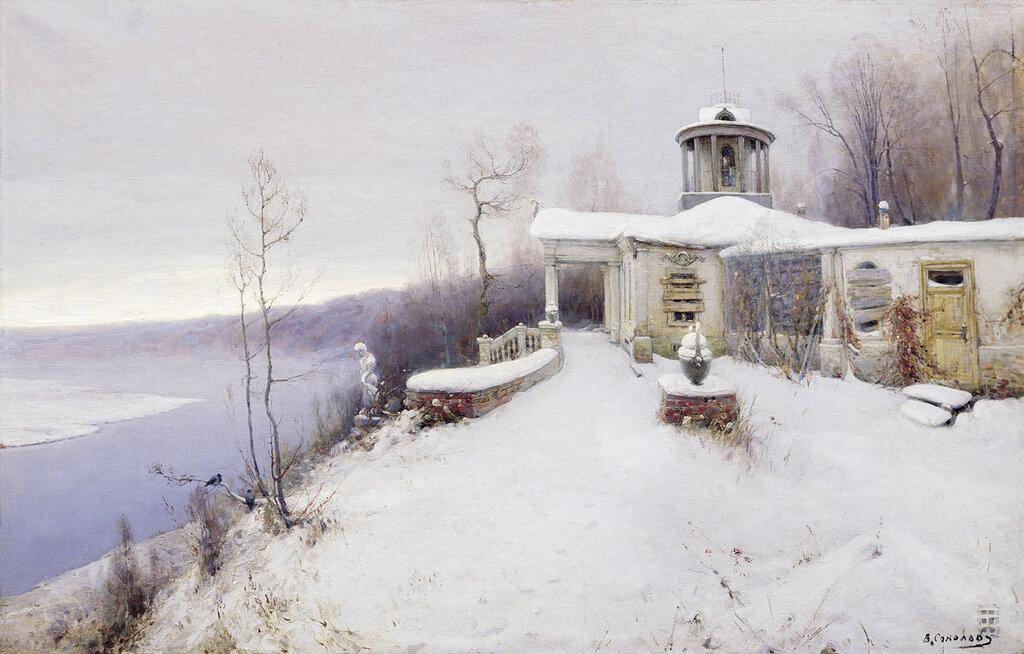0951.Sokolov.Vladimir.(1872-1946).Pokinutaia.usad'ba.Nachalo.1900-h.holst.maslo.62h97.sm.jpg