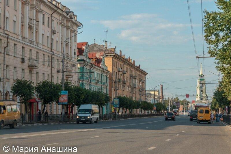 Проспект Ленина и колокольня Успенского собора Тульского кремля