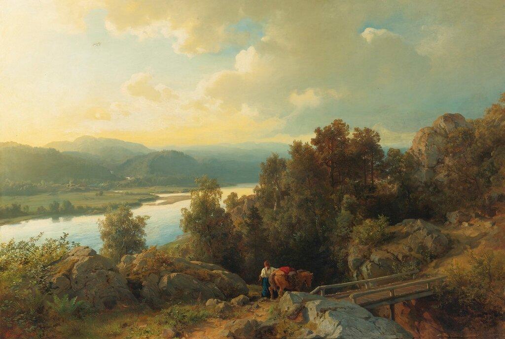 Hans Gude - En innsjø landskapet (1861)..jpg