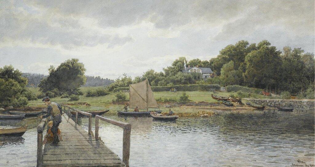 Hans Gude - Fisking ved Sølvkronen (1900)..jpg