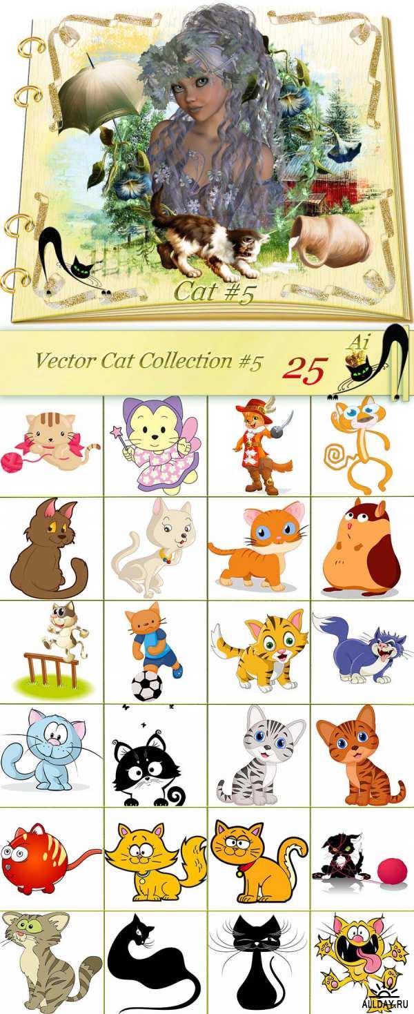 Кошки, котята - Векторный клипарт