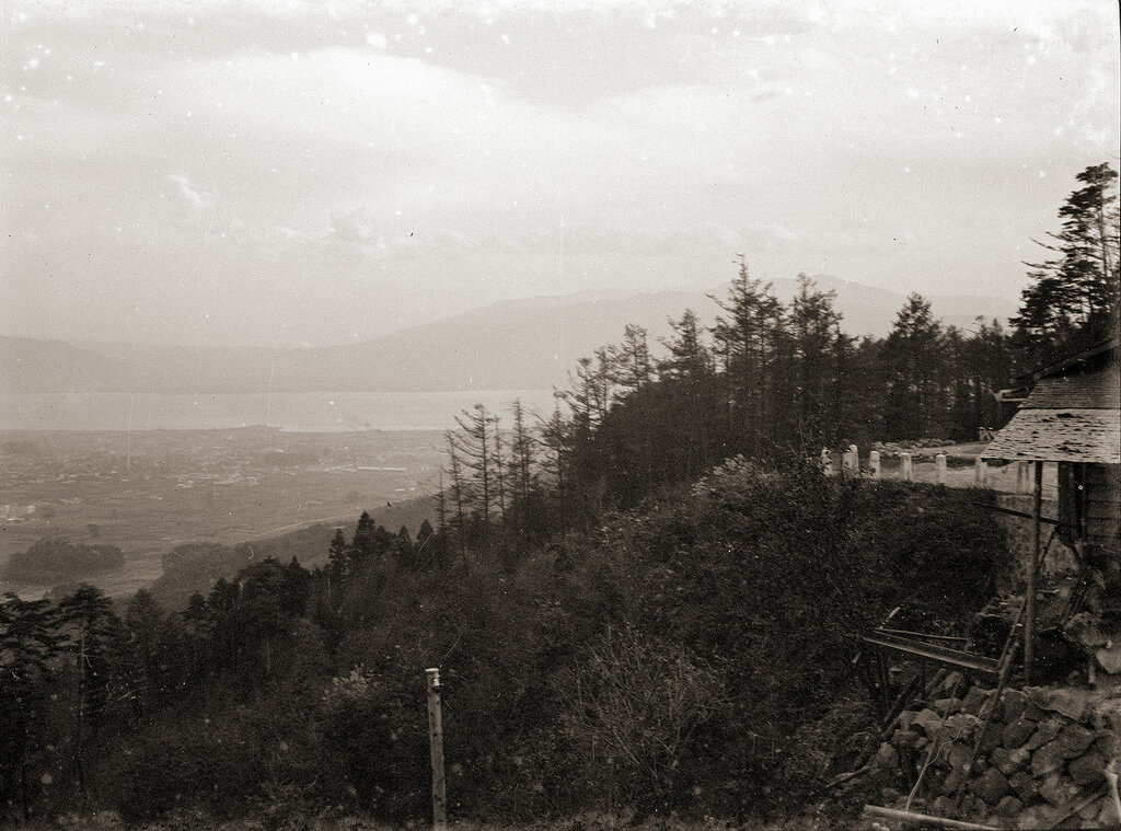 Looking Down on Lake From Viewpoint, 1930s Japan.