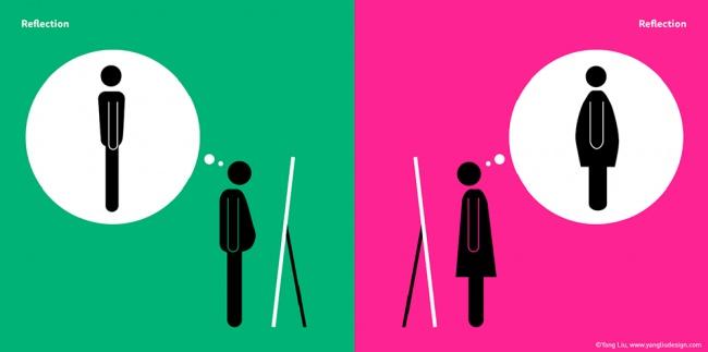 Глядя насвое отражение взеркале, большинство мужчин довольно увиденным, абольшинство женщин— раз