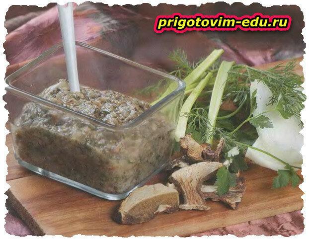 Грибная икра из сухих и солёных грибов