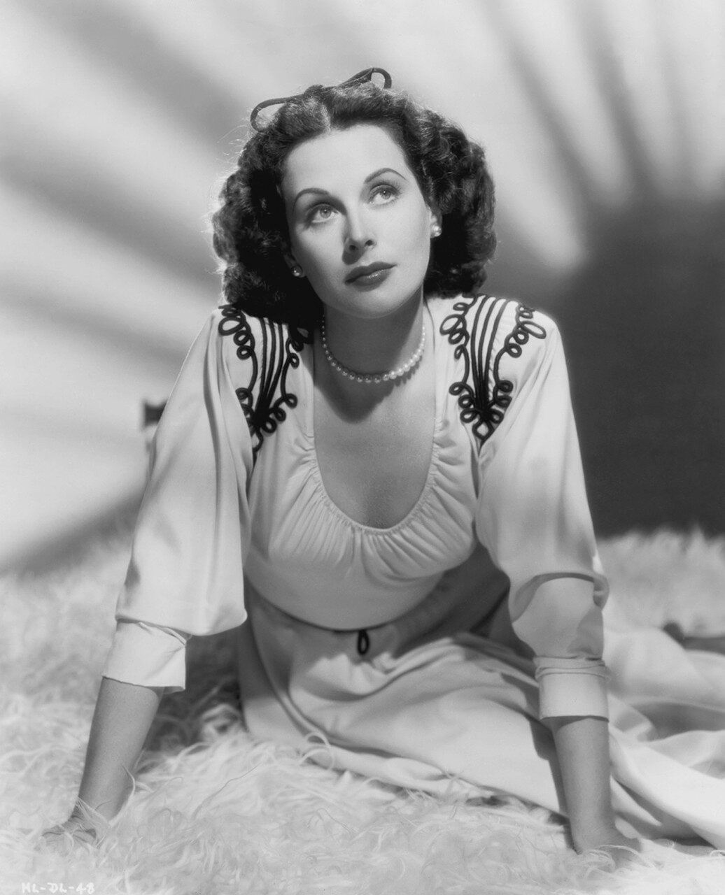 Actress Hedy Lamarr in Embroidered Dress