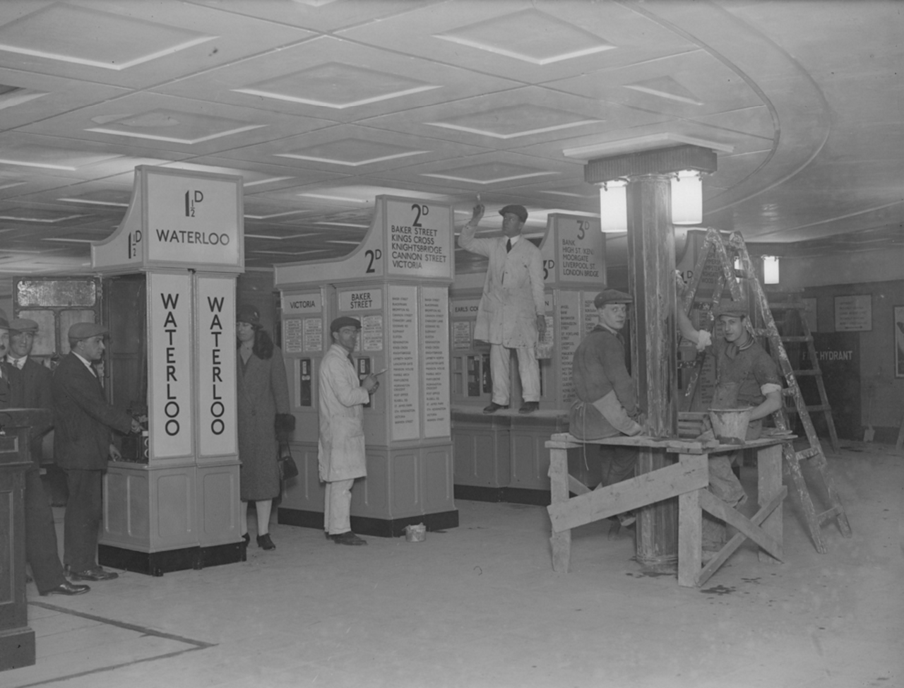 1928. Строительные работы в билетной зоне новой станции метро Пикадилли