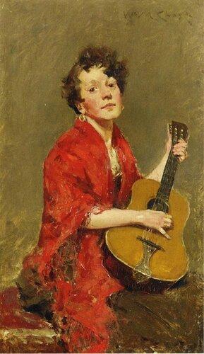 Уильям Меррит Чейз Девушка с гитарой