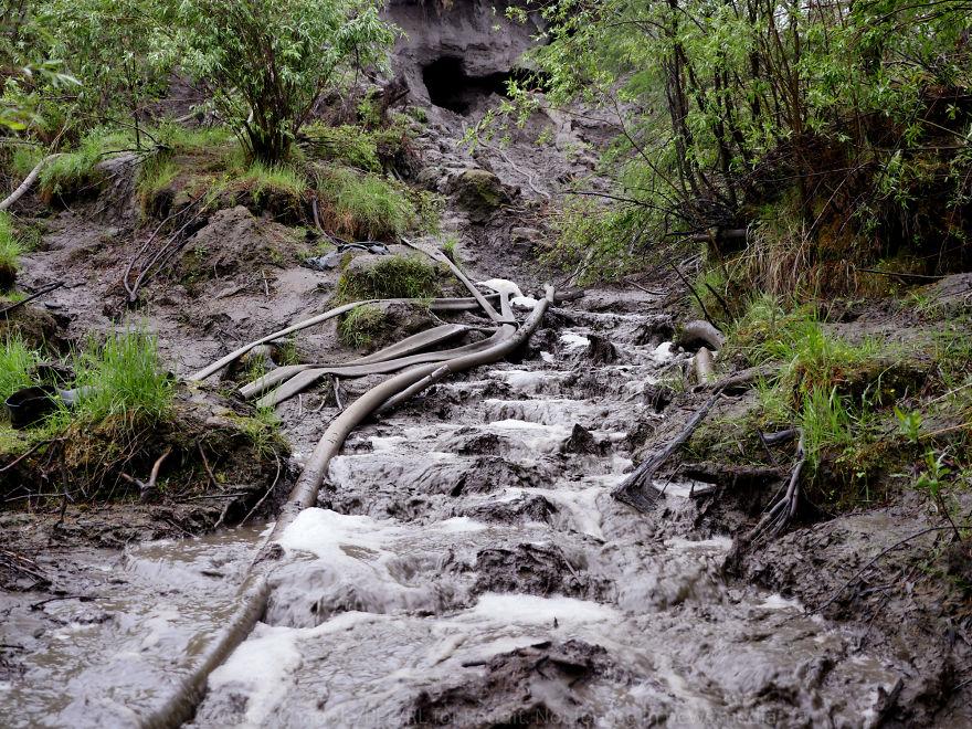 Изуродованная земля — наглядный результат методов, которые используют охотники за бивнями, но водной