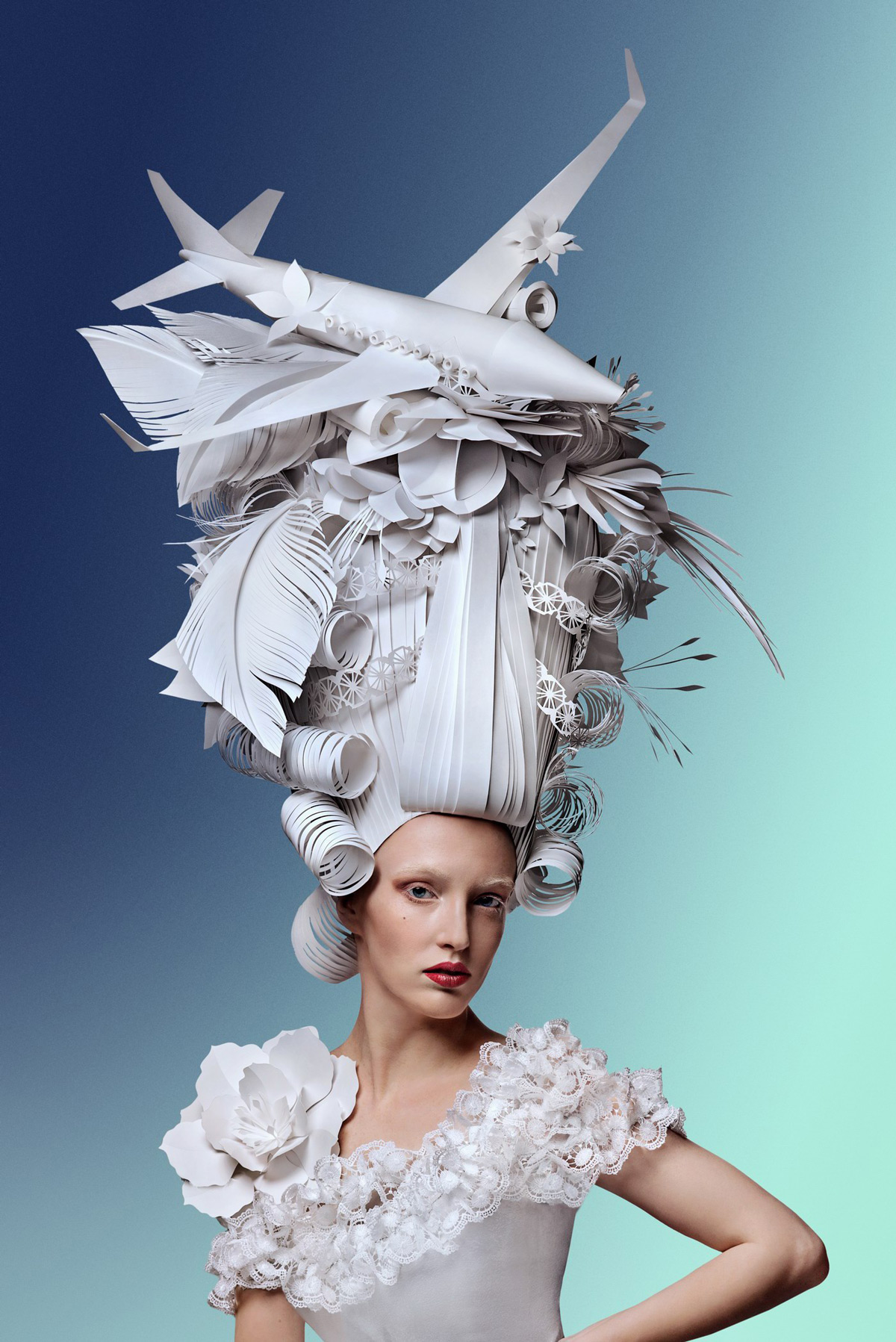Sky-High Paper Wigs Topped With Modern Luxuries by Asya Kozina (9 pics)