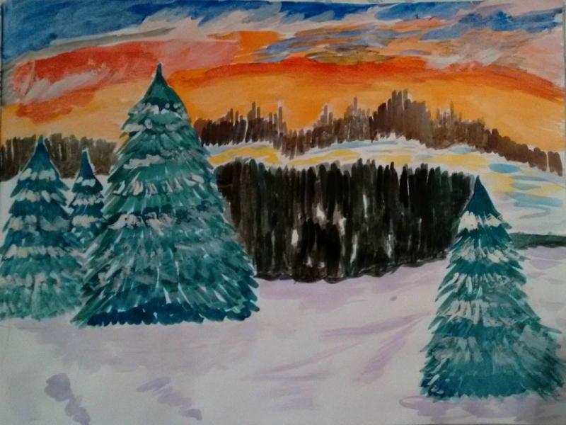 Мой рисунок  № 2 -  зимний  пейзаж.