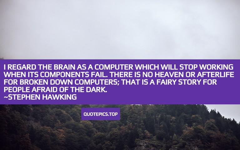 I regard the brain as a computer which will stop working when its components fail. There is no heaven or afterlife for broken down computers; that is a fairy story for people afraid of the dark. ~Stephen Hawking
