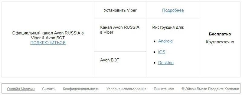 Официальный канал Avon Viber & Avon БОТ