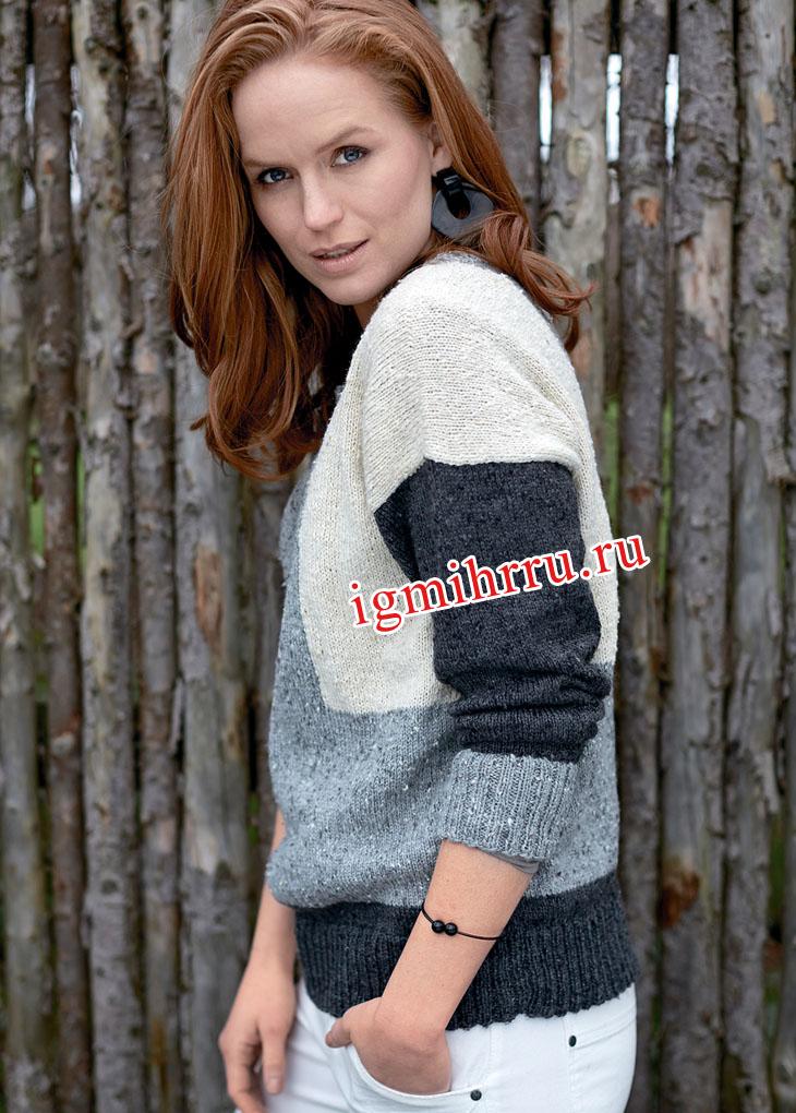 Классический пуловер с удачным сочетанием трех цветовых оттенков. Вязание спицами