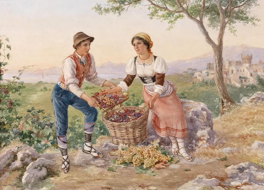 Junges italienisches Paar bei der Traubenernte.jpg