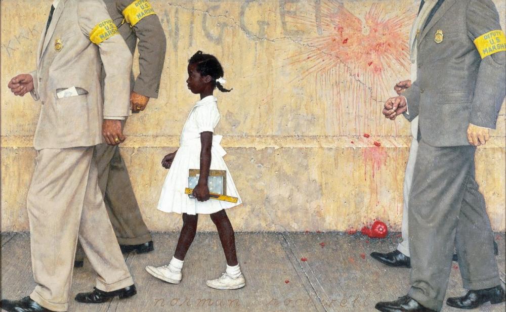 Яркая иллюстрация становления расового равноправия вАмерике 60-х. Героиня картины— 6-летняя афроам