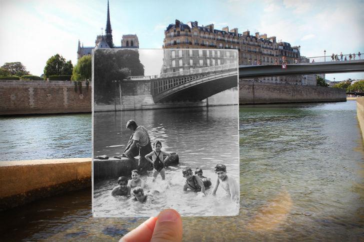 Река Сена сейчас и в 1930 году.