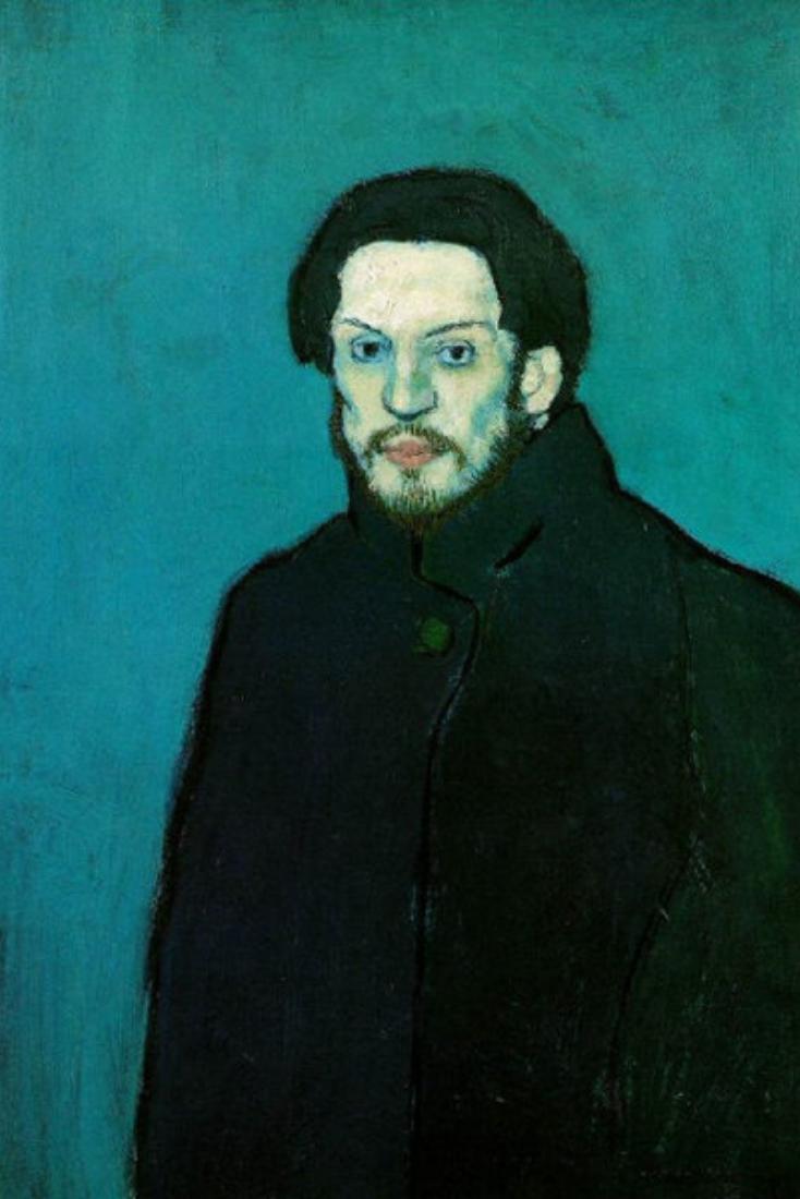 Испанец рисовал себя на протяжении всей жизни. Сущствуют десятки автопортретов Пикассо — от крайне р