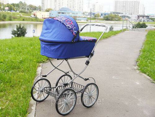 Огромная кукольная коляска Melobo 9673 Модерн синяя