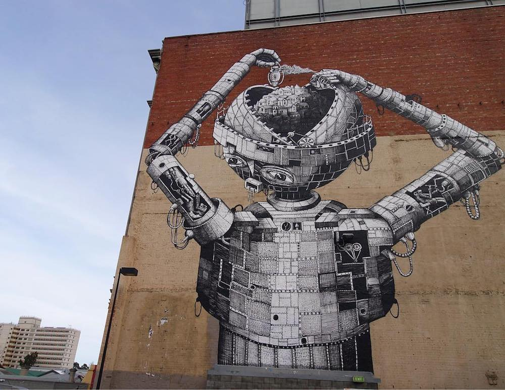 A Village Encapsulated Inside a 5-Story Robot's Head and Other Recent Murals by 'Phlegm' (7 pics)